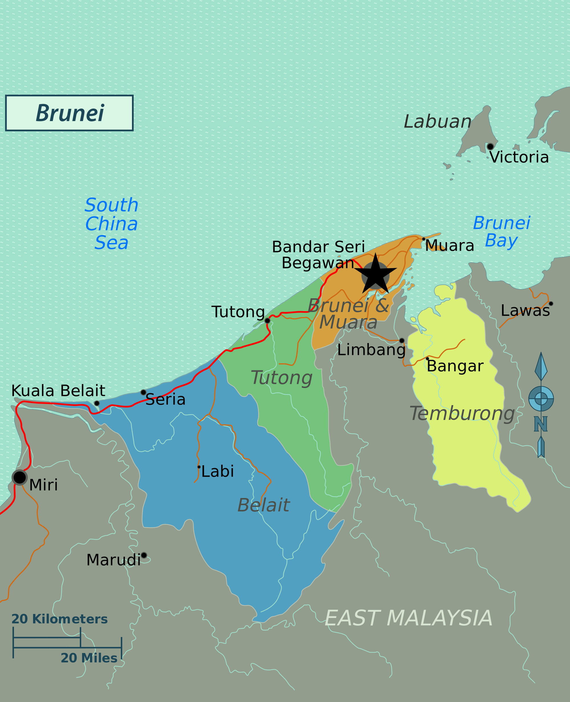 Maps Of Brunei Detailed Map Of Brunei In English Tourist Map Of Brunei Road Map Of Brunei Political Administrative Relief Physical Map Of Brunei