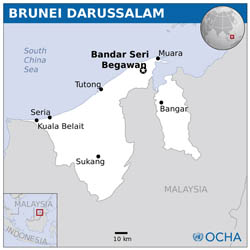 Large scale political map of Brunei.
