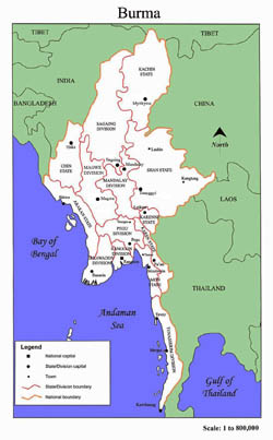 Administrative map of Burma.