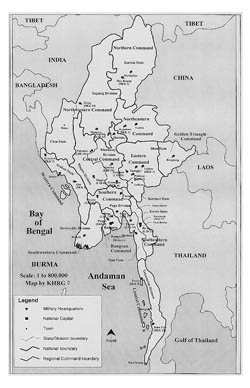 Administrative map of Myanmar.