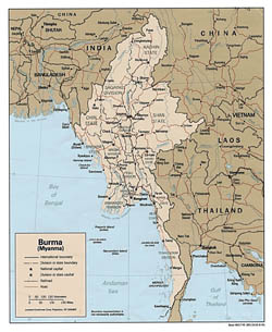 Detailed political and administrative map of Burma (Myanmar) - 1991.