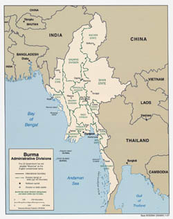 Large detailed administrative divisions map of Burma - 2007.