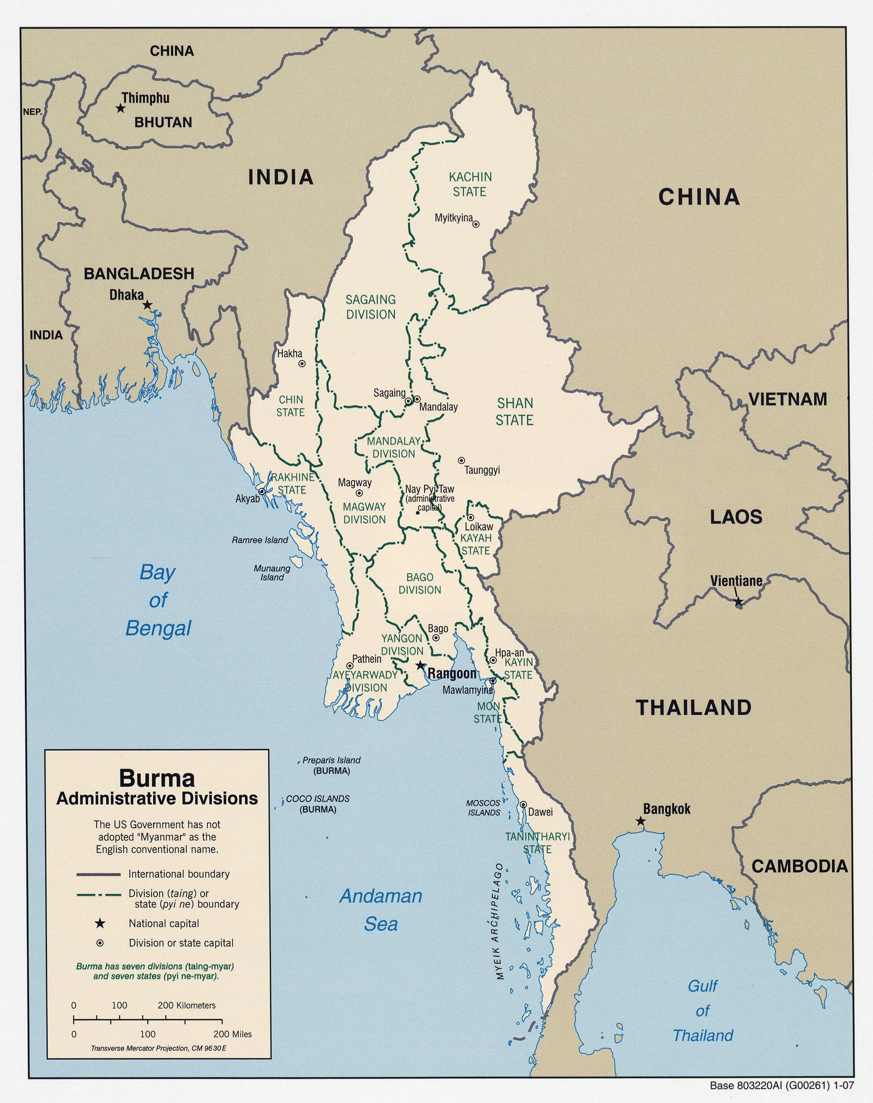 Maps of Myanmar Burma Detailed map of Myanmar in English