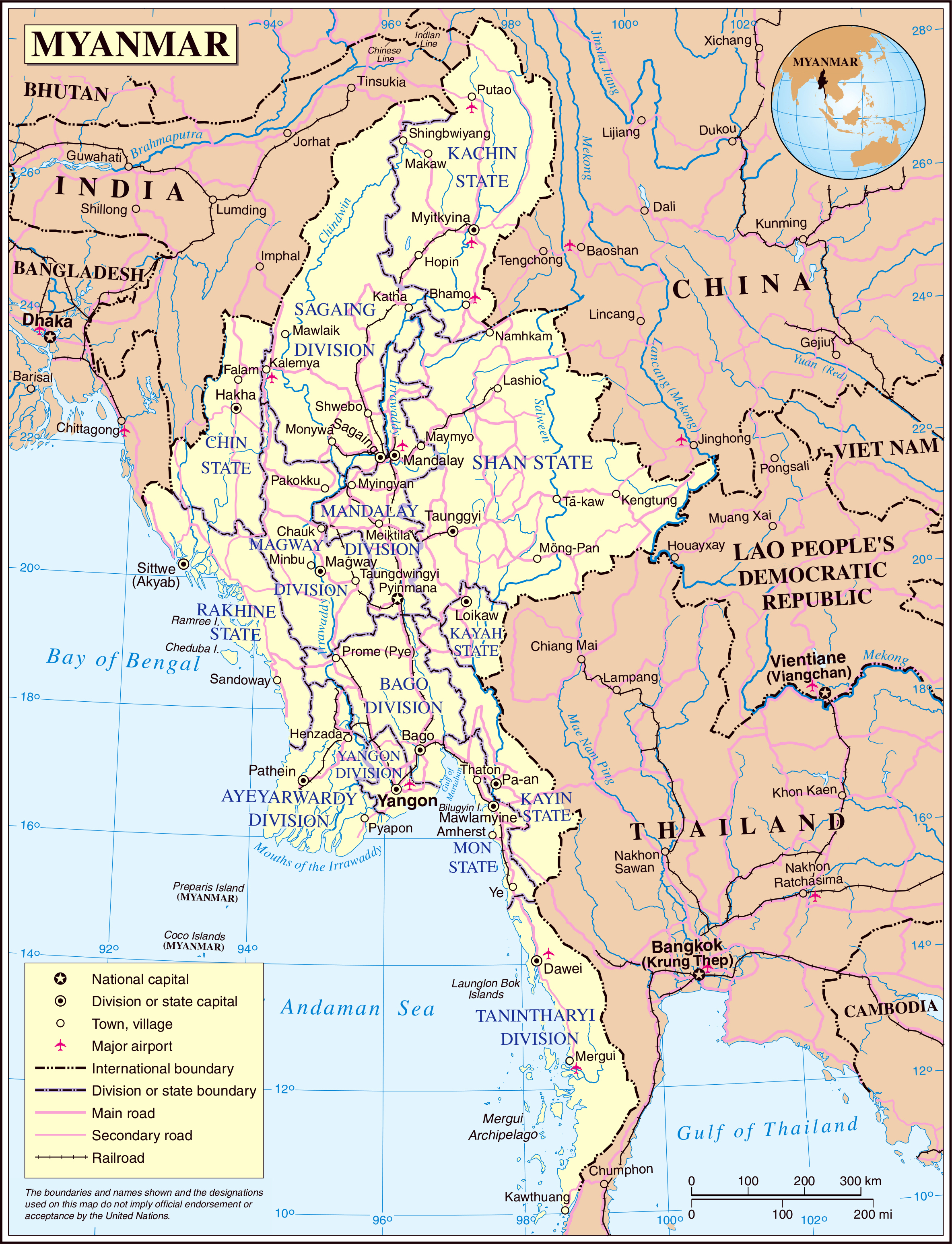 large detailed political and administrative map of burma with roads cities and airports