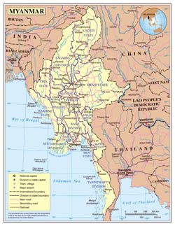 Large detailed political and administrative map of Myanmar with roads, cities and airports.