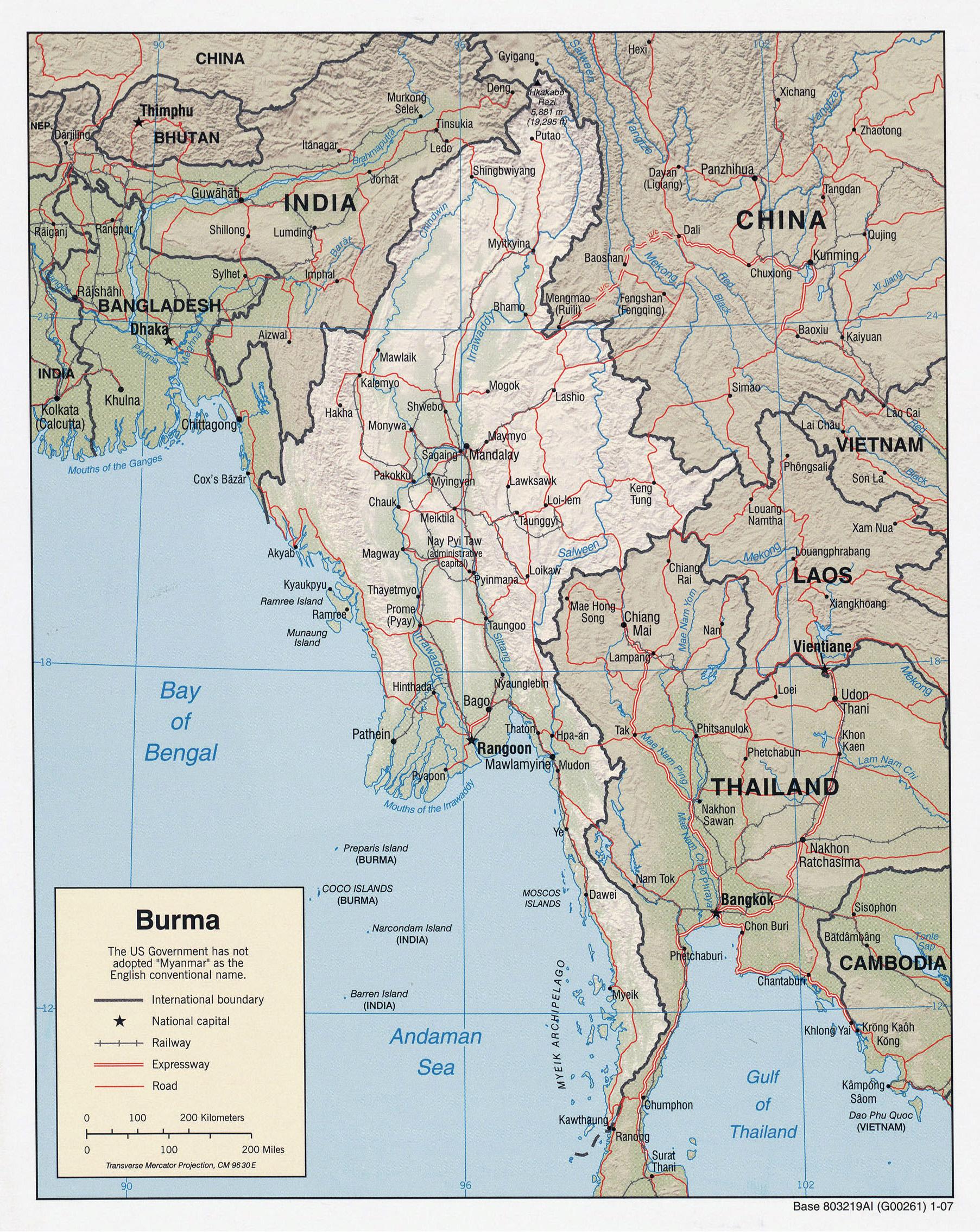 Maps of Myanmar Burma Detailed map of Myanmar in English