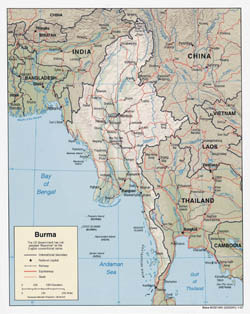 Large detailed political map of Burma (Myanmar) with relief, roads and major cities - 2007.