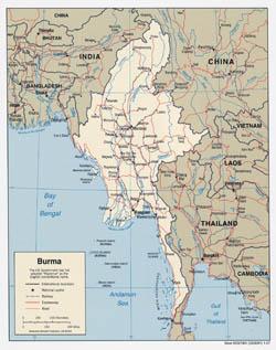 Large detailed political map of Burma (Myanmar) with roads and major cities - 2007.