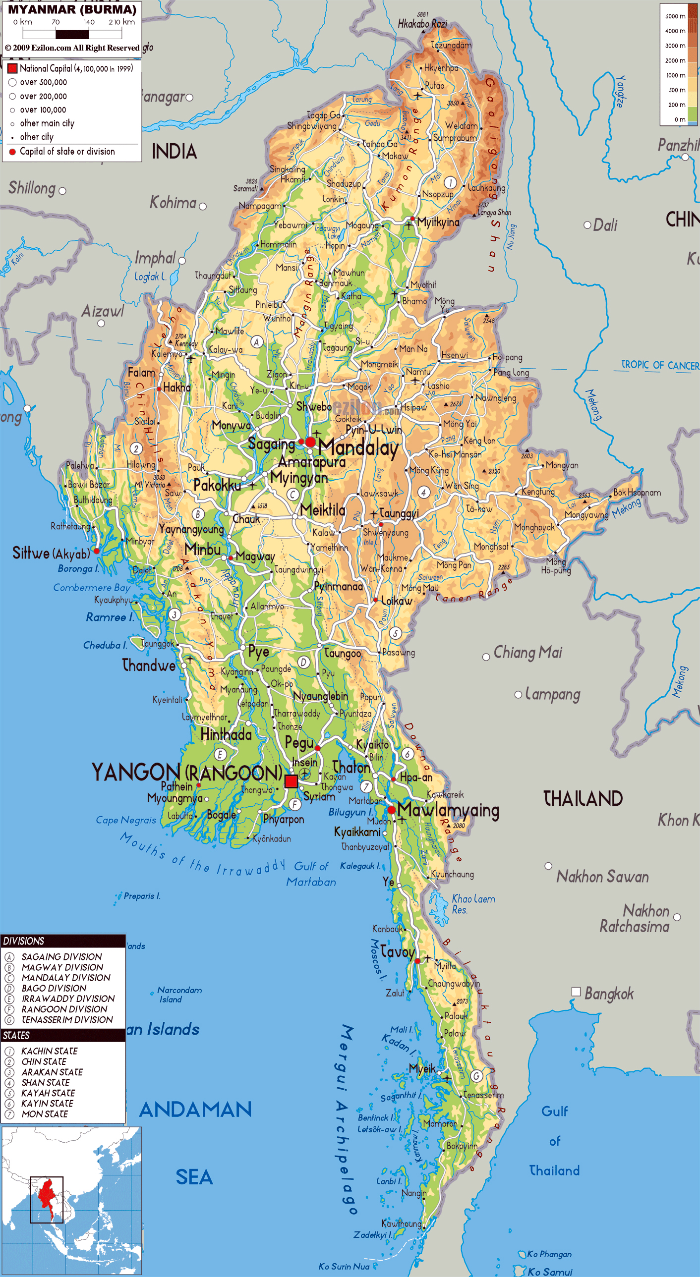 Maps of myanmar burma detailed map of myanmar in english large physical map of myanmar with roads cities and airports gumiabroncs Image collections