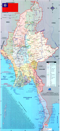 Large political and administrative map of Burma.