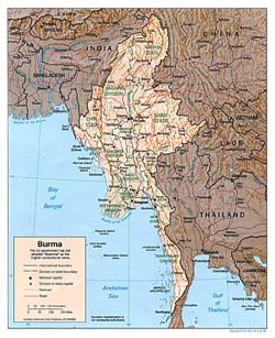 Large political and administrative map of Burma with relief, roads and major cities - 1996.