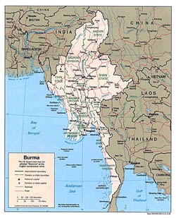 Large political and administrative map of Burma with roads and major cities - 1996.
