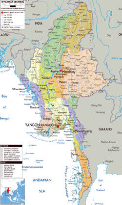 Large political and administrative map of Myanmar with roads, cities and airports.