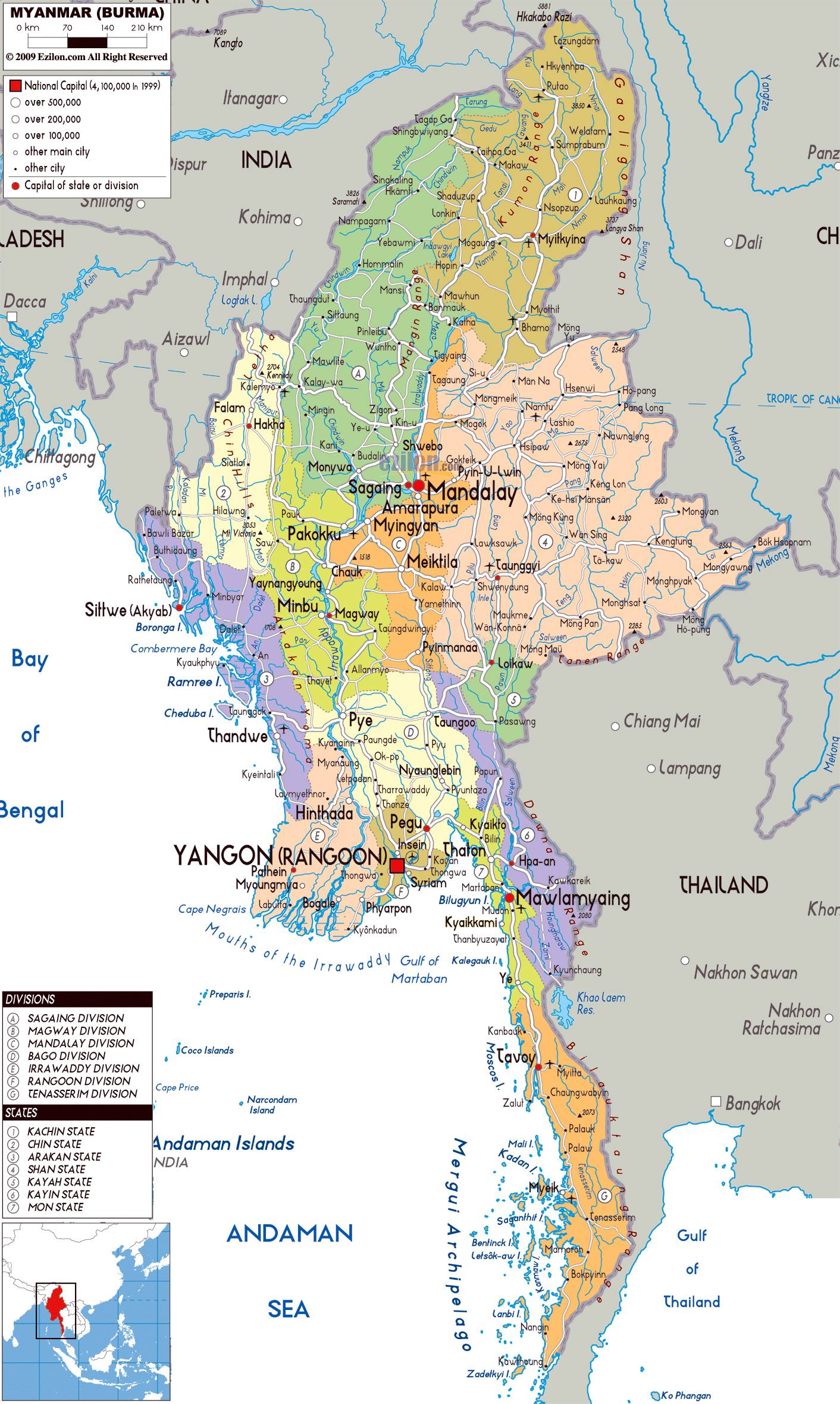Maps of myanmar burma detailed map of myanmar in english large political and administrative map of myanmar with roads cities and airports sciox Gallery