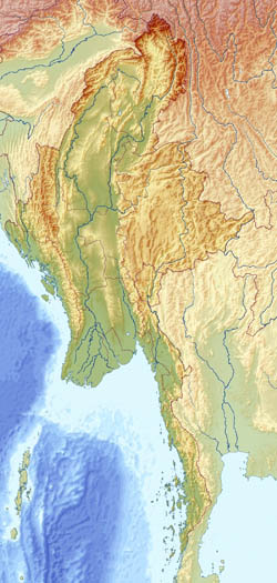 Large relief map of Myanmar (Burma).