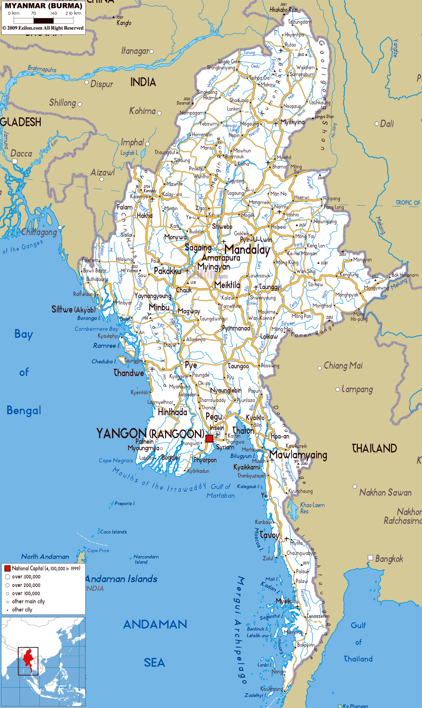 Maps of Myanmar Burma – Tourist Map Of Myanmar