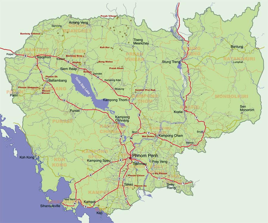Maps of Cambodia | Detailed map of Cambodia in English | Tourist map ...