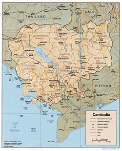 Detailed political and administrative map of Cambodia with relief, roads and major cities - 1991.