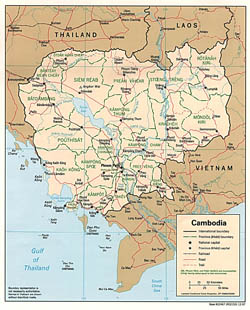 Detailed political and administrative map of Cambodia with roads and major cities - 1997.