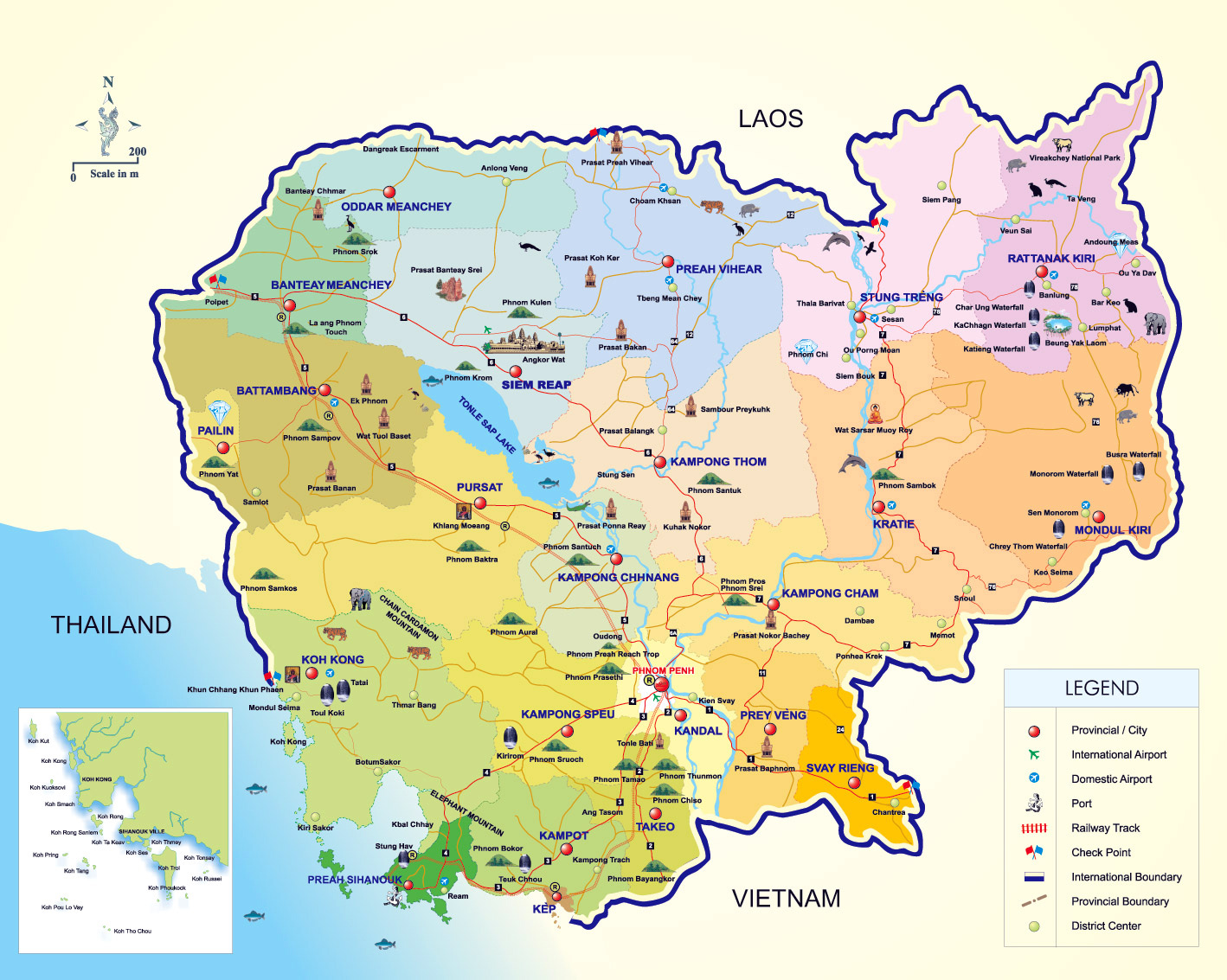 Maps of Cambodia | Detailed map of Cambodia in English ...