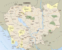 Large detailed National Parks map of Cambodia.