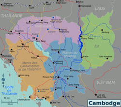 Large regions map of Cambodia.