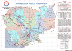 Large scale detailed Cambodia road network map.