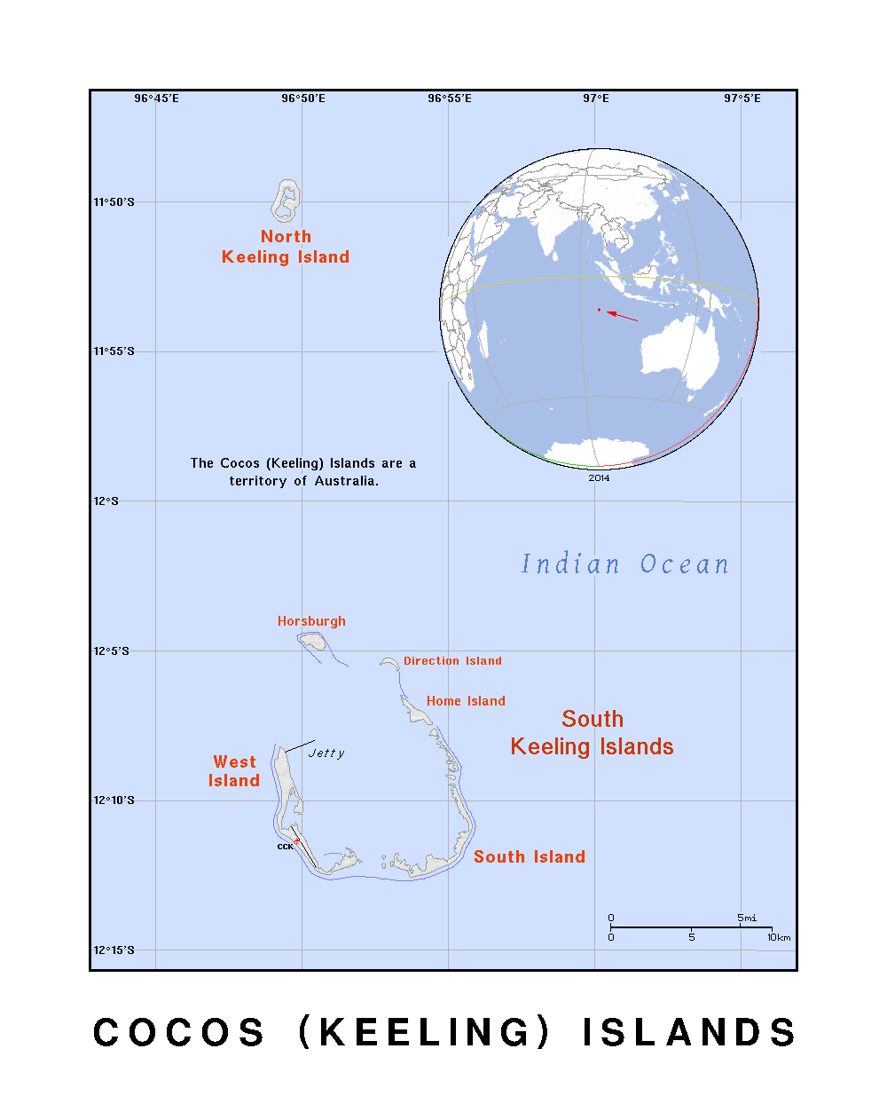 Maps of Cocos Keeling Islands Detailed map of Cocos Keeling