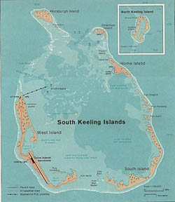 Large detailed map of Cocos Keeling Islands with cities and airport - 1976.