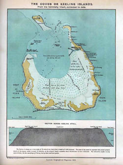 Large old map of Cocos Keeling Islands - 1889.