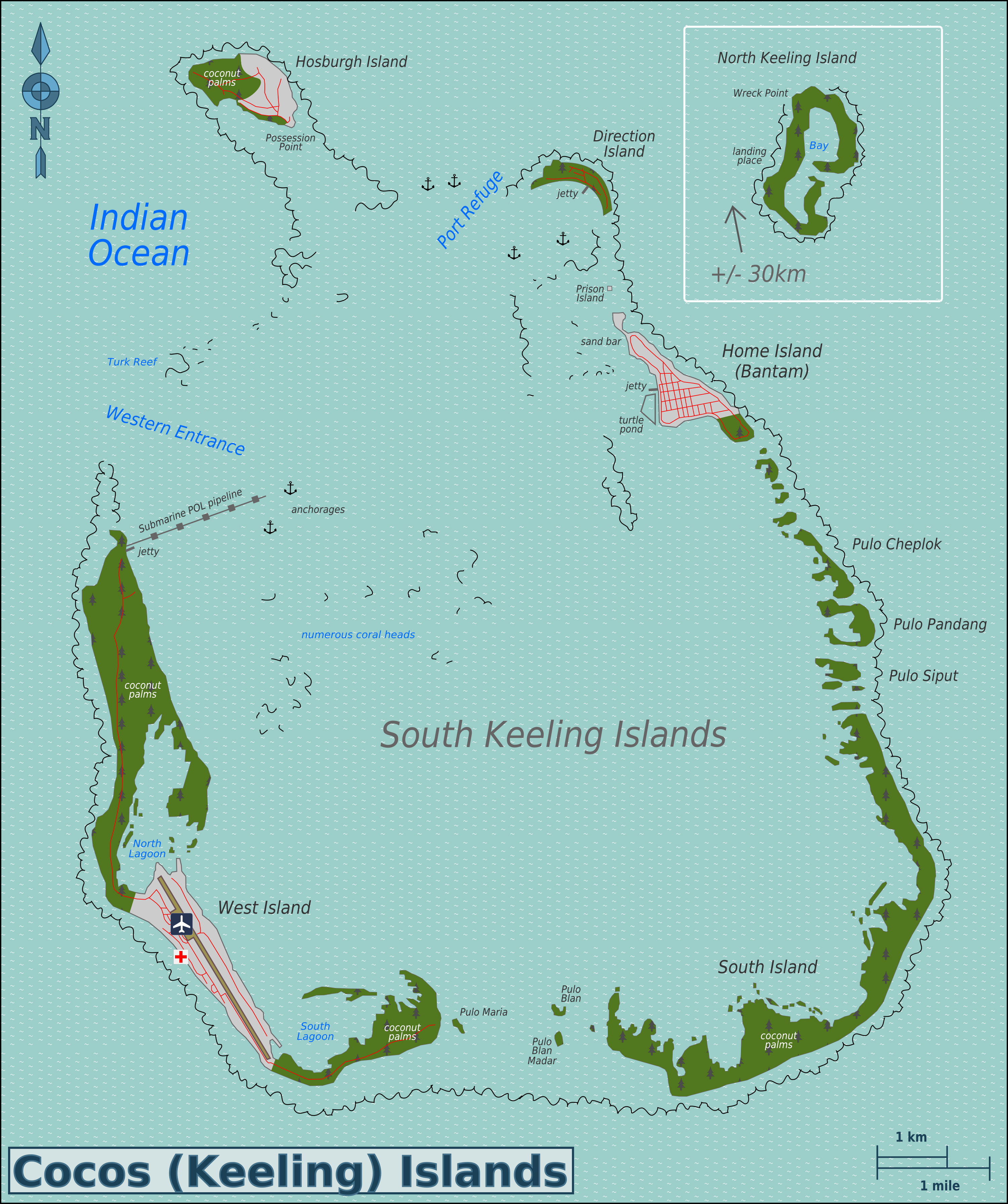 Maps Of Cocos Keeling Islands Detailed Map Of Cocos Keeling - Cocos islands map