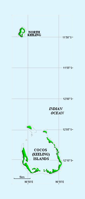 Small map of Cocos Islands.