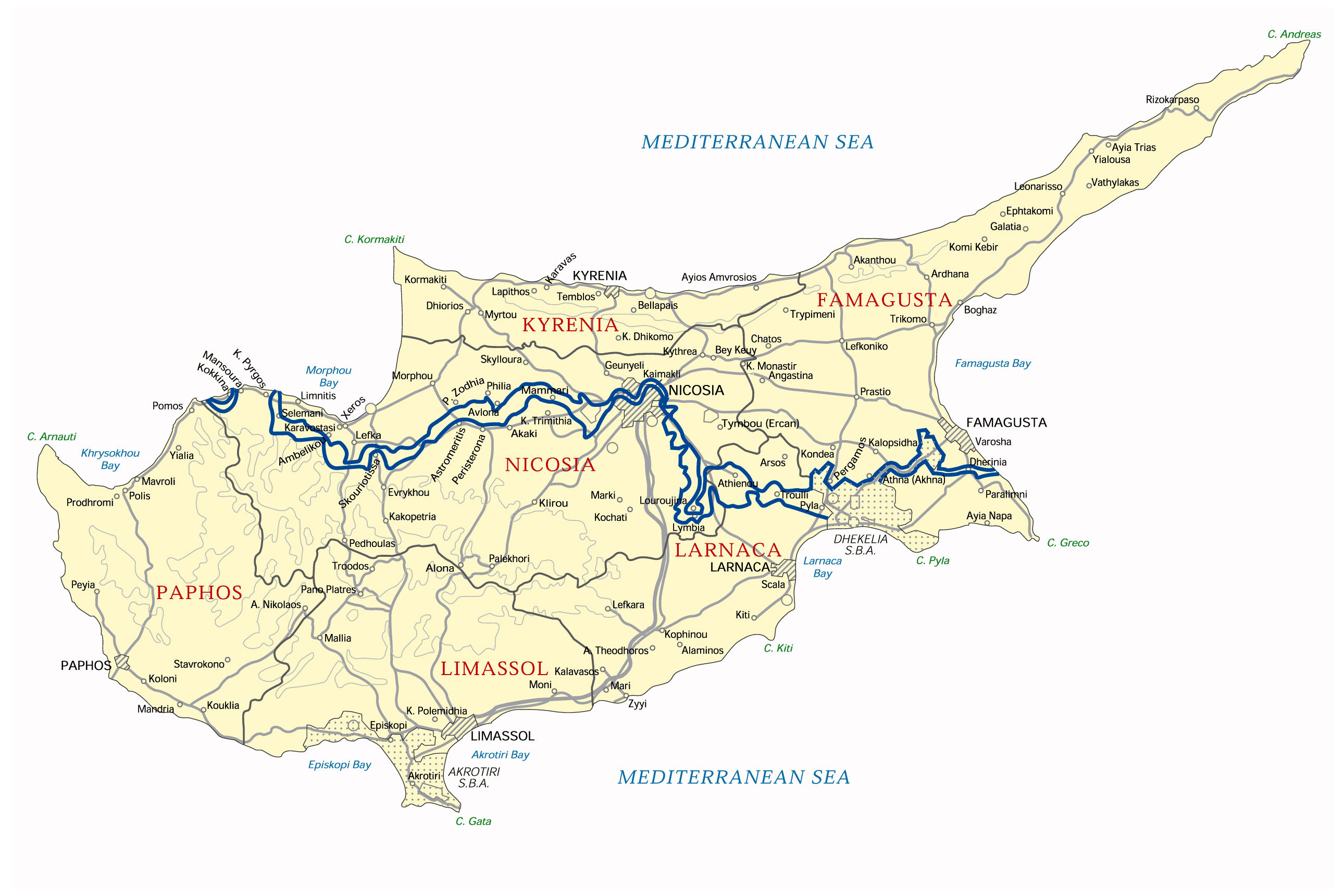 Maps of cyprus detailed map of cyprus in english tourist map of detailed administrative map of cyprus with roads and cities gumiabroncs Choice Image