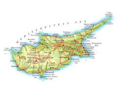 Detailed elevation map of Cyprus with roads, cities and airports.