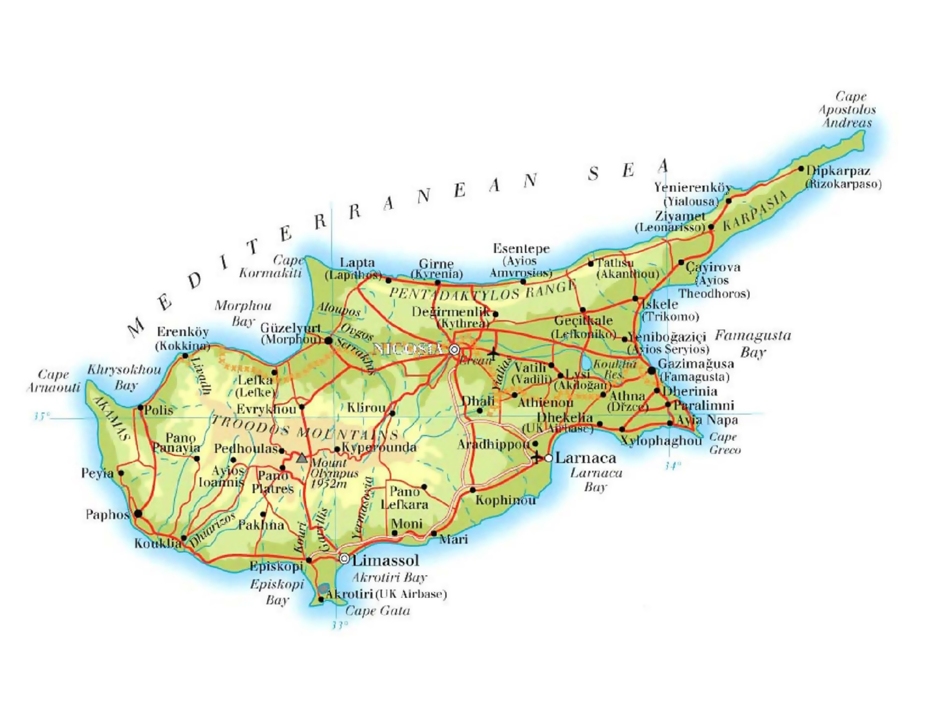 Maps of Cyprus Detailed map of Cyprus in English Tourist map of