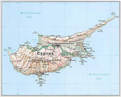 General map of Cyprus.