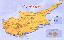 Guide map of Cyprus.