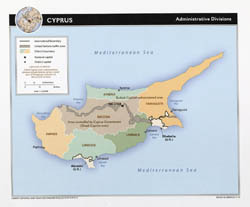 Large detailed administrative divisions map of Cyprus with major cities - 2010.