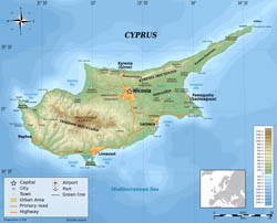 Large detailed physical map of Cyprus.