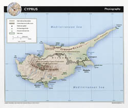 Large detailed physiography map of Cyprus with roads, cities and airports - 2010.