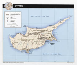Large detailed political map of Cyprus with roads, cities and airports 2010.