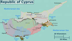 Large detailed regions map of Cyprus.