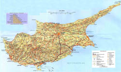Large detailed road map of Cyprus with relief and cities.
