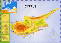 Large map of Cyprus.