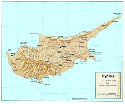 Large political map of Cyprus with relief, roads and cities - 1980.