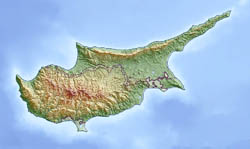 Large relief map of Cyprus.