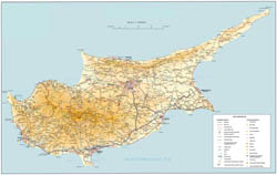 Large road map of Cyprus.