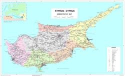Large scale administrative divisions map of Cyprus with roads and cities.