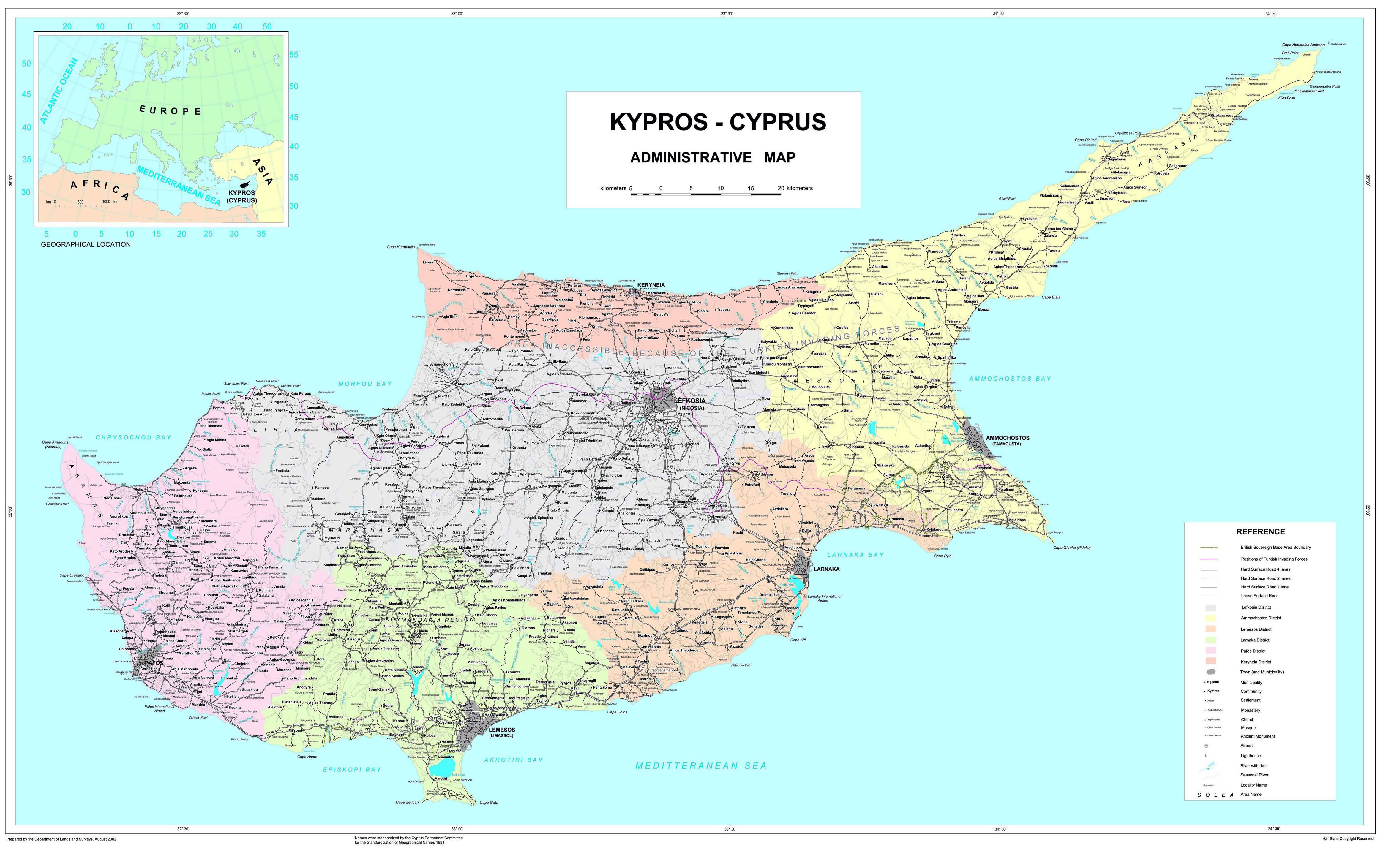 Maps of cyprus detailed map of cyprus in english tourist map of large scale administrative divisions map of cyprus with roads and cities gumiabroncs Choice Image