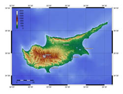 Large topographical map of Cyprus.